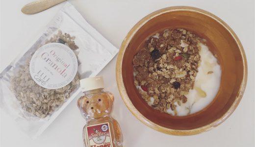 朝食にカスピ海ヨーグルトとグラノーラ